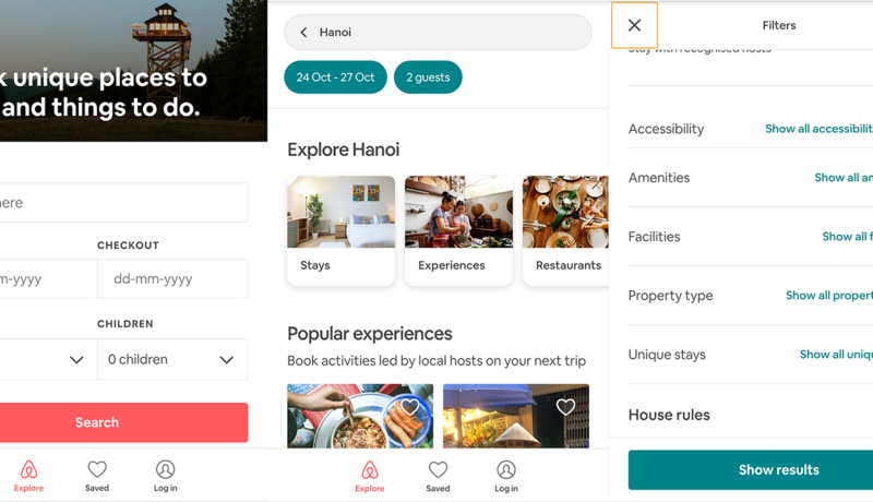 Airbnb mobile journey