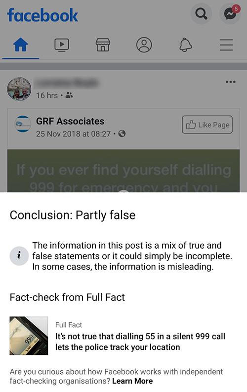 Facebook Partly False